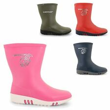 INFANTS GIRLS BOYS DUNLOP RAIN BOOTS SNOW WATERPROOF MID CALF PULL ON SHOES SIZE