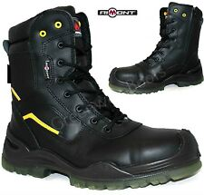 MENS LEATHER LIGHTWEIGHT SAFETY STEEL TOE CAP MIDSOLE TRAINERS HIKER WORK BOOTS