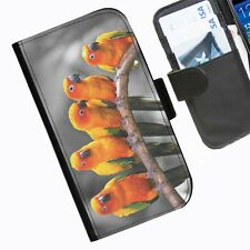 Orange Birds Leather wallet phone case for iPhone Samsung Sony Huawei Blackberry