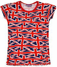 Girls Union Jack Printed T Shirt Short Sleeved Summer Kids Top New Age 2-6 Years