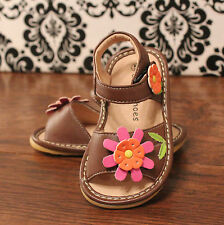 Brown Flower Toddler Girl Velcro Squeaky Sandals Shoes, Sizes 3 4 5 6 7 8 9
