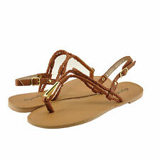 Women's Shoes Qupid Athena 868A Braided T-Strap Slingback Sandal Rust *New*