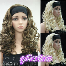 Women Female Lady Mid-Long Curly With headband Synthetic Hair Wigs/wig cap