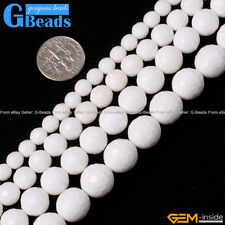 """Natural White Shell Gemstone Faceted Round Beads Free Shipping 15"""" 6mm 8mm 10mm"""