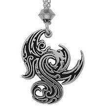 Handmade Gothic Dragon Pewter Chain Pendant