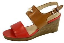 Coach Hendrick Platform/Wedge Sandal Watermelon/Ginger Brown Leather Shoe