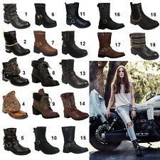 Womens Ladies Biker Riding Boots Faux Leather High Heels Fashion Mid Calf Shoes