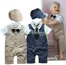 Baby Boy Wedding Christening Formal Party Bow Tie Smart Suit Outfit Tuxedo 6-18m