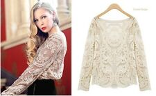 Sexy Lace Women's Blouses Embroidery Floral Crochet Hollow Long Sleeve spring