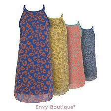 NEW WOMENS LADIES CHIFFON SUMMER BEACH PARTY DRESS LEOPARD FLORAL VEST TOP 8-14