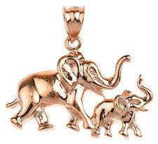 Rose Gold Elephant Family with Mother and Child Pendant