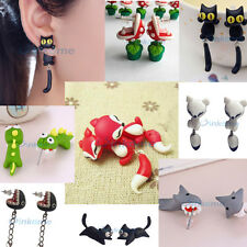 3D Cartoon Dinosaur Piranha Plant Polymer Clay Stud Earrings DIY