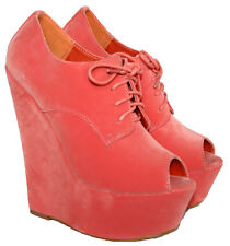 """LADIES CORAL FAUX SUEDE 6"""" WEDGE HEEL LACE UP ANKLE BOOT WITH PEEP TOE SIZES 3-8"""
