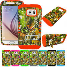For Samsung Galaxy S6 Hybrid Hard Soft Cover Case Mossy Leaves Oak Tree Camo