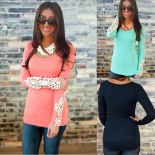 Summer Womens Casual Cotton Casual Tops Long Sleeve Loose T-Shirt Blouse
