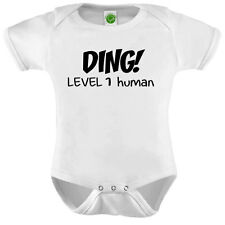 Ding Level One Human Onesie ORGANIC Cotton Romper Baby Shower Gift Funny Present