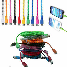 1M 2M 3M Strong Braided Fabric Micro USB Data Sync Charger Cable Lead Nokia