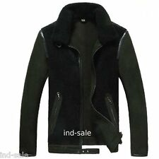 Designer Custom Tailor Made All Sizes Suede LEATHER JACKET EDH Faux Fur