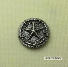 【KB205】1'' Western Texas Saddle Star Concho with Barb Wire Antique-Silver