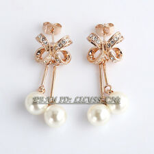 Fashion Rhinestone Pearl Dangle Earrings Crystal 18KGP