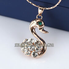 Fashion Rhinestone Lovely Swan Pendant Necklace 18KGP Crystal