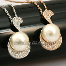 Fashion Musical Symbols Pearl Necklace Pendant Jewelry 18KGP Crystal Rhinestone