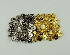 Gold & Silver Color Lapel Pin Backs Metal Butterfly Clasps Pinback Clutches