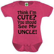 Think I'm Cute Onesie ORGANIC Cotton Romper Baby Shower Gift Funny Present