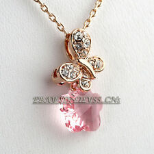 Fashion Butterfly Flower Charm Necklace & Pendant 18KGP Rhinestone Crystal