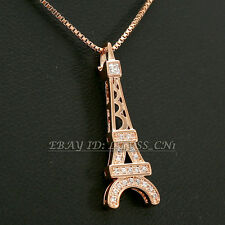 Fashion Eiffel Tower Necklace Pendant 18KGP Crystal Rhinestone