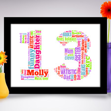 Personalised Birthday Gift for child any age from 1st to 16th A4 Word Art Print