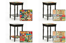 FC185 NEW LABEL POSTER THEMED BLACK FINISH WOODEN END ACCENT TABLE NIGHT STAND