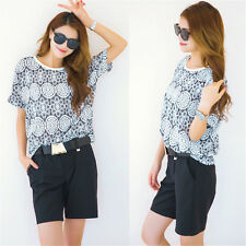 Fashion Women Floral Short Sleeve O-Neck T-Shirt Tops + With Belt Shorts Twinset