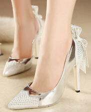 Womens Diamond Satin Bowknot Stiletto High Heel Pumps Party Wedding Bride Shoes