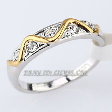 Fashion Band Ring 18KGP with Rhinestone Crystal CZ Size 5.5-6.5