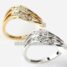Fashion Wave Band Ring 18KGP with CZ Rhinestone Crystal Size 5.5-10