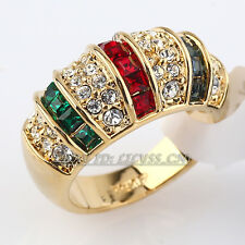 Fashion Simulated Gemstone Band Ring 18KGP use CZ Rhinestone Crystal Size 5.5-10