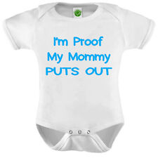 I'm Proof My Mommy Puts Out Onesie ORGANIC Cotton Romper Baby Shower Gift Funny