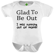 Running Out of Womb Onesie ORGANIC Cotton Romper Baby Shower Gift Funny Present