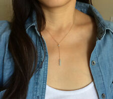 Gold Blue Amazonite Lariat Drop Necklace also in Silver and Rose Gold