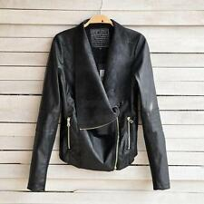 Long Sleeve Womens Vintage PU Leather Jacket Biker Motorcycle Coat Outwear Black