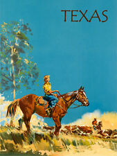 American Horse Farm Cattle Texas Travel Tourism Vintage Poster Repro FREE S/H