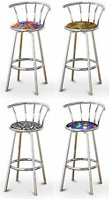 "FC45 CHROME FINISH METAL 29"" TALL SWIVEL BACKREST SEAT CUSHION KITCHEN BARSTOOLS"