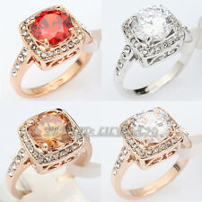 A1-R190 Fashion Simulated Gem Engagement Ring 18KGP Swarovski Crystal Size 5.5-9