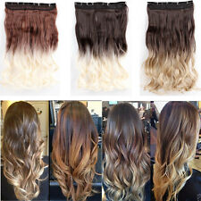 New Curly Hair Piece Cosplay Ombre Dip Dye Clip In Hair Extensions Wedding Color