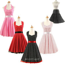 Women 50s 60s Vintage Polka dot Retro Rockabilly Swing Prom Cocktail Party Dress