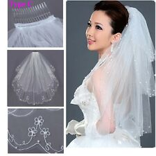 2T Embroidery Pearls Beaded Edge Bridal Wedding Elbow Veil With Comb White Ivory