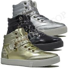 Fashion Ladies Hi High Top Trainer Womens Girls Ankle Baseball Skate Boots Shoe
