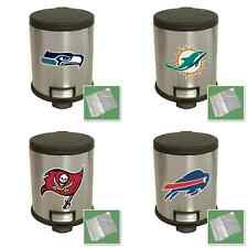NFL FOOTBALL TEAM LOGO THEME STAINLESS STEEL STEP LID TRASHCAN WASTE RECYCLE BIN