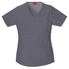 Scrub Dickies Gen Flex Youtility Mock Wrap Top 817355 Pewter FREE SHIPPING